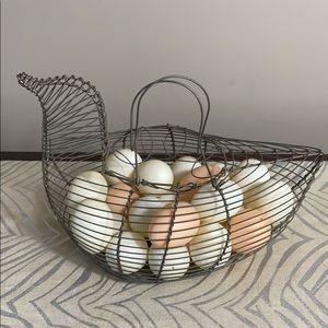 Vintage Wire Chicken Egg Basket w/ Decorative Eggs
